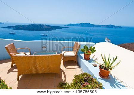 Patio with flowers in Fira town on the island of Thera(Santorini) Greece.