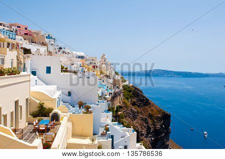 Fira landscape on the edge of the caldera cliff on the island of Thira known as Santorini Greece.