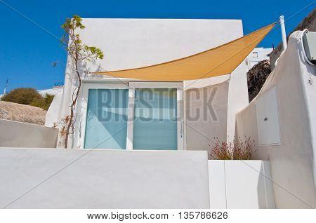 Detail of local hotel in Fira. Santorini Greece.