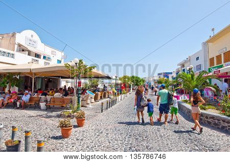 SANTORINI FIRA-JULY 28: Shopping street on July 28 2014 in Fira on the Santorini island Greece. Firá is the capital of the Greek Aegean island Santorini (Thera).