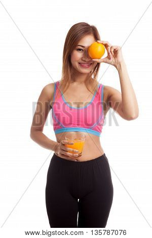 Beautiful Asian Healthy Girl With Orange Juice And Orange Fruit