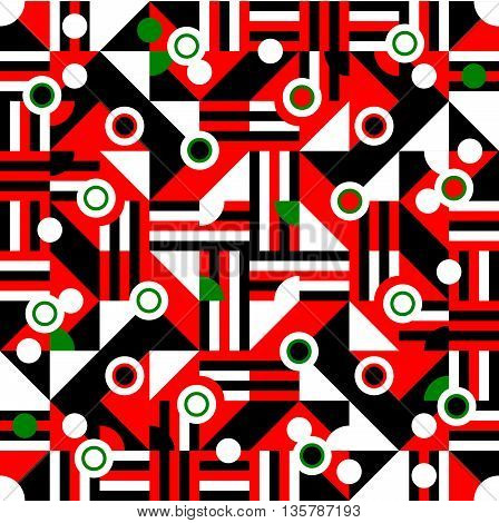 Red black white green cubist bauhaus style tileable background