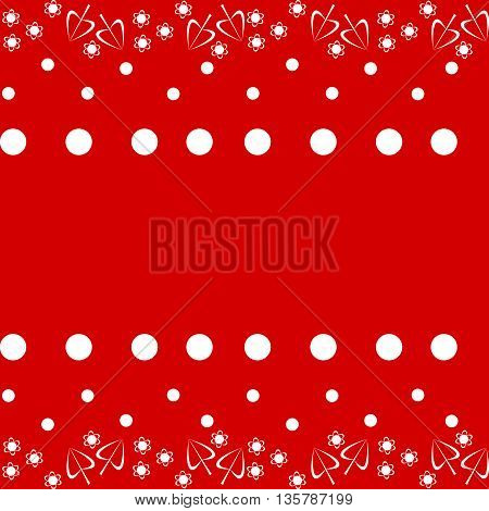Decorative floral red white fashion able pattern with polka dots