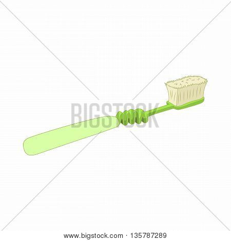 Green toothbrush icon in cartoon style on a white background