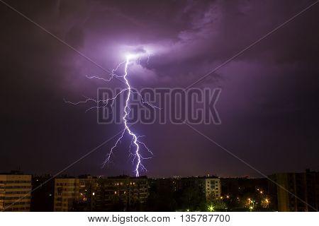 A storm in the night in Chelyabinsk