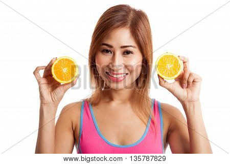 Beautiful Asian Healthy Girl With Orange Fruit