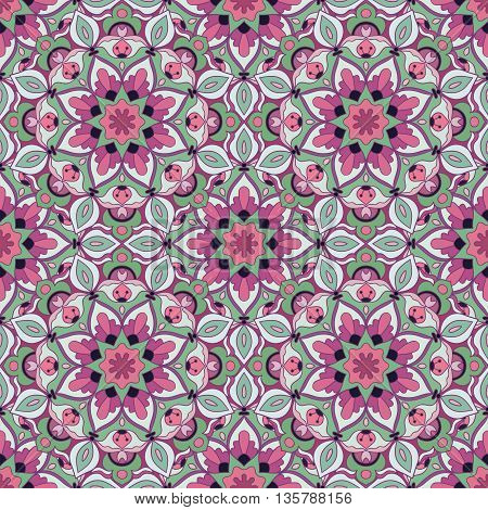 Abstract floral seamless pattern in beautiful colors. Vector illustration