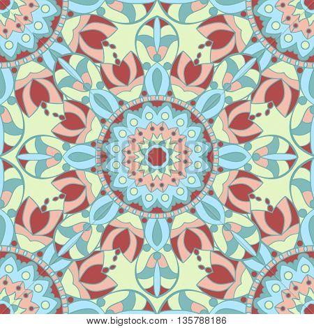 Seamless pattern. Decorative vintage pattern with mandalas. Vector background