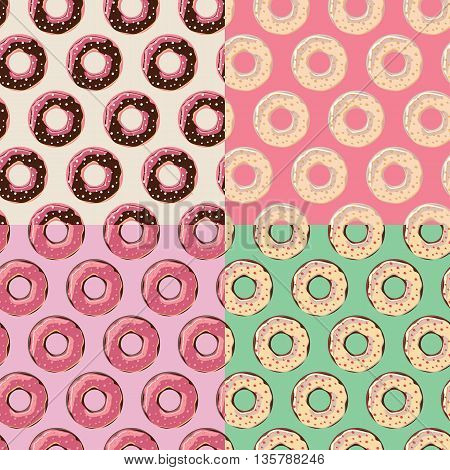 Four seamless patterns with colorful tasty glossy donuts vector illustration