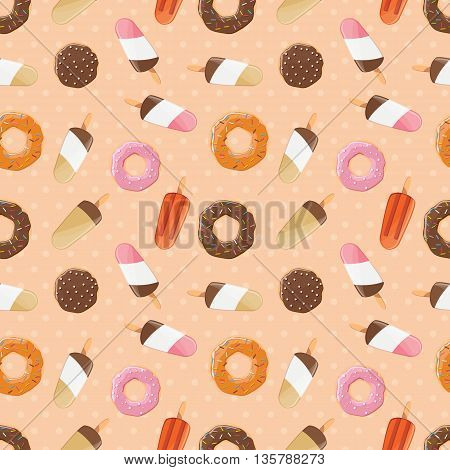 Seamless pattern with ice cream and colorful tasty donuts vector illustration
