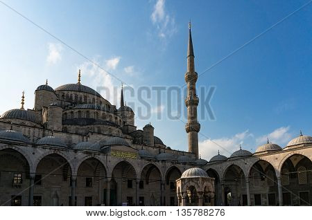 Blue Mosque Ottoman imperial Mosque in Istanbul Turkey. Inner yard of Sultanahmet Camii