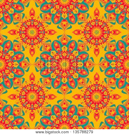 Decorative seamless pattern in beautiful bright colors. Vector background. Can be used for wrapping paper, scrapbooking, print, invitation and other