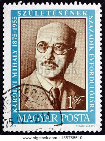 HUNGARY - CIRCA 1975: a stamp printed in Hungary shows Count Mihaly Karolyi Prime Minister 1918-1919 circa 1975