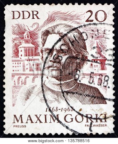 GERMANY - CIRCA 1968: a stamp printed in Germany shows Maxim Gorky and View of Gorky Russian Writer circa 1968