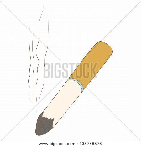 Cigarette butt icon in cartoon style isolated on white background. Smoking symbol