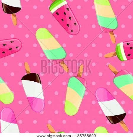Ice cream seamless pattern colorful summer background delicious sweet treats vector illustration