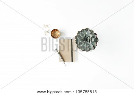 feminini desk workspace with succulent diary and golden clips on white background. flat lay top view