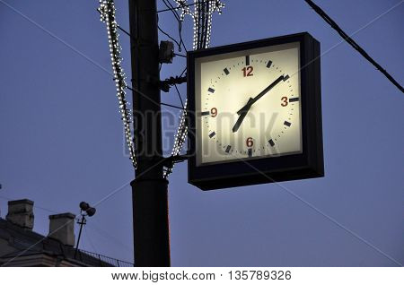 Street Clock On A Lamp-post