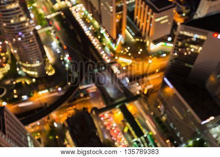 Abstract blurred lights, aerial view city downtown road intersection