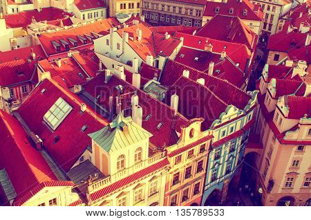 Red Prague roofs - view from the City Hall, travel european vintage hipster background