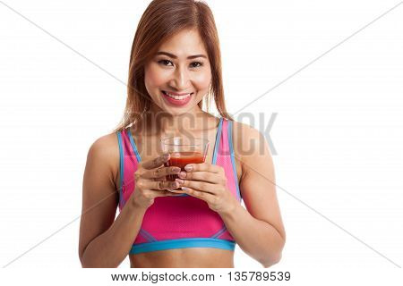 Beautiful Healthy Asian Girl With Tomato Juice