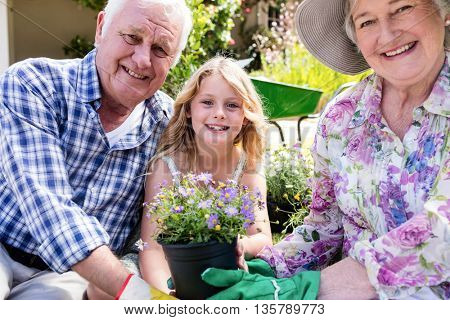 Portrait of grandparents and granddaughter holding flower pot in the garden