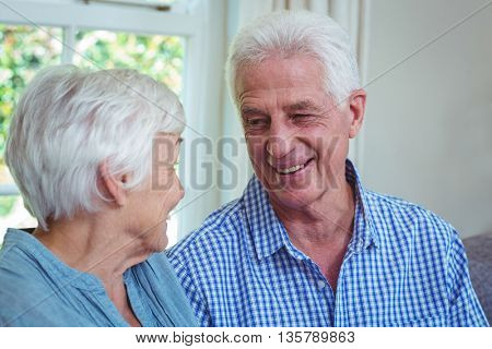 Close-up of senior couple at home