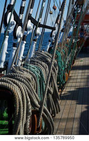 Rigging of a sailing ship, ropes, blocks