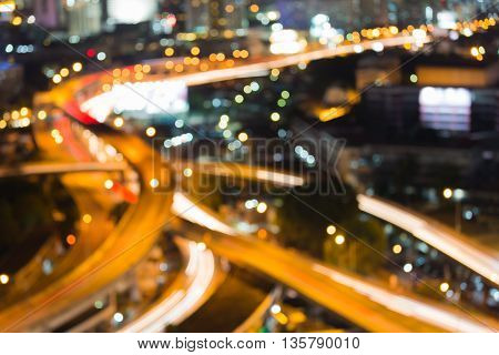 Aerial view blurred lights bokeh city road intersection, night view