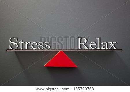 balance concept, words relax and stress on blackboard