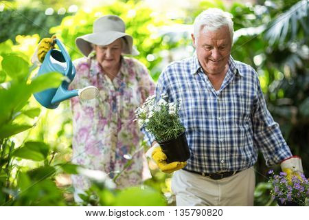 Senior couple with watering can and flower pots walking in garden