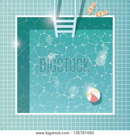 Swimming pool top view summer holiday vacation clear water vector illustration