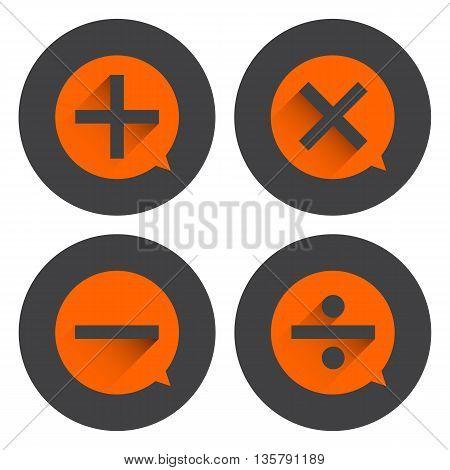 Basic Mathematical symbols on orange bubble and black circle background.