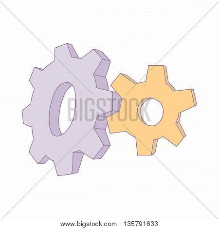Gear icon in cartoon style isolated on white background. Spare parts symbol