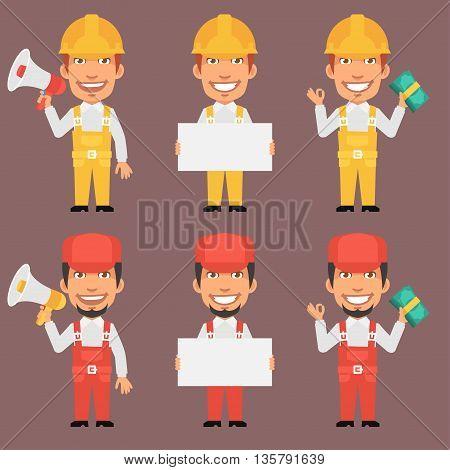 Vector Illustration, Builder and Repairman Holds Megaphone Poster Money, Format EPS 8