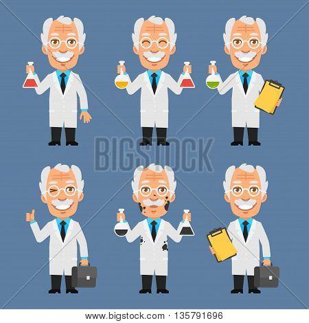 Vector Illustration, Old Professor Holds Board Test Tubes, Format EPS 8