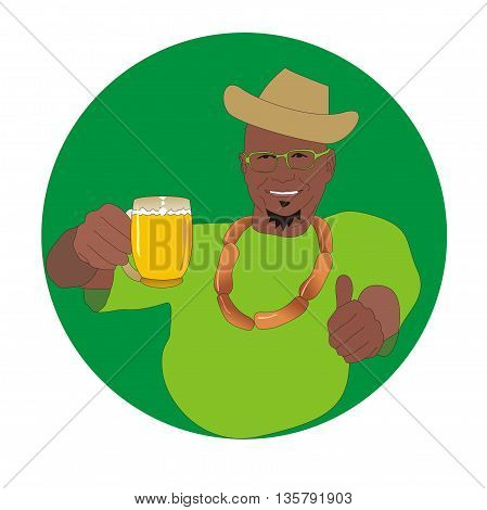 Illustration cheerful man wearing a hat with mug of beer shows thumb