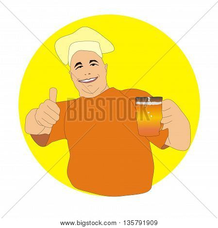 Illustration happy cheerful brewer holding a beer mug and thumb