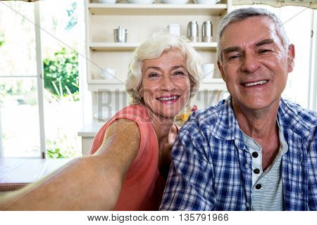 Portrait of happy senior couple in kitchen at home