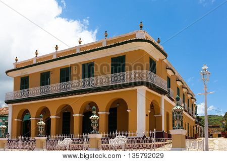 The world heritage city Trinidad in Cuba with architecture view