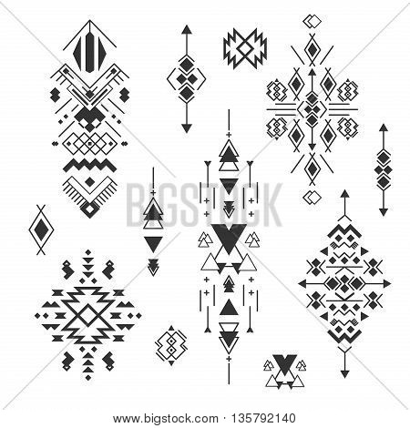 Vector Tribal elements, ethnic collection, aztec stile, tribal design isolated on white background.