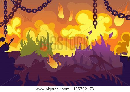 Set 8: Burning Wild Dark Forest Abstract Creative Innovation Digital Concept CG Abstract Artwork Mobile Video Game Wallpaper Background. Realistic Fantastic Cartoon Style Scene, Story, Card Design.