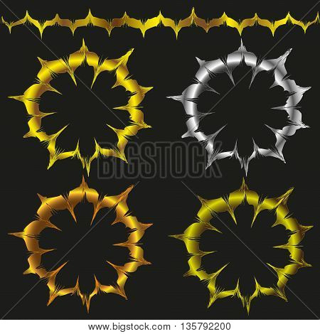 Decor brush with the effect of gold leaf and silver vector illustration Vector illustration decor brush with effect of gold leaf and silver,  set of four decorative frame on black background