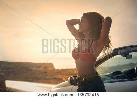 Sensual woman at the seaside