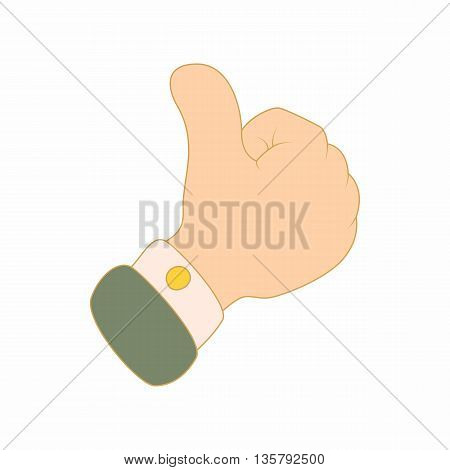 Thumbs up icon in cartoon style isolated on white background. Likes symbol