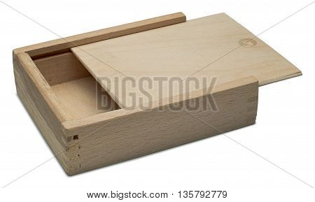 Small raw wooden box for small items. Isolated on the white background with shadow.