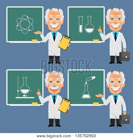 Vector Illustration, Old Professor Holds Points to Chalkboard, Format EPS 8