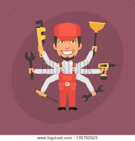 Vector Illustration, Repairman Master Many Hands, Format EPS 8