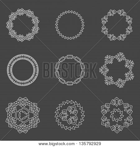 Set of trendy geometric shapes. Set geometric shapes signs, labels and frames triangles line design elements vector. Geometric shapes and geometric shapes design. Element line sign geometric esoteric.