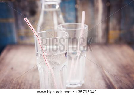 cold fresh mineral water in transparent glass with bottle